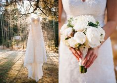 Winter Wedding | Pine Cones, Evergreen Trees, Peonies
