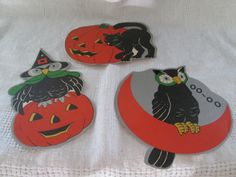 Vintage Halloween Paper Decoration,Halloween Party Decor,1940s Halloween,Ephemera,Cut Out Halloween Decoration,Black Cat,Scarecrow,Owl,Witch by AntiquesPlus on Etsy
