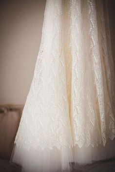 Knitted lace wedding dress Haapsalu lace pattern from Estonia