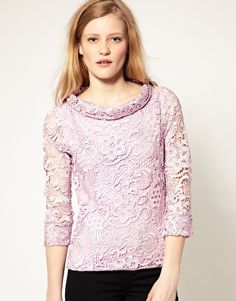 Lace sweater with embellished detail