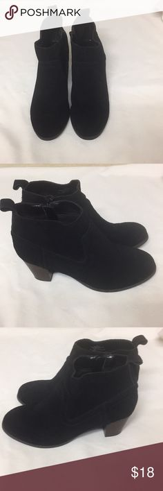 Black Mossimo Supply Co. Zipper Ankle Boots. Black  Leather with zipper on the ankle. Lite signs of wear on shoes and bottoms. Mossimo Supply Co. Shoes Ankle Boots & Booties