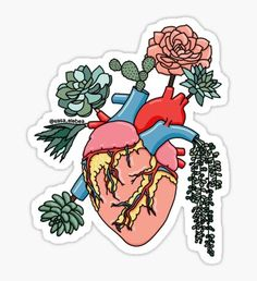 'Succulent heart by Sasa Elebea' Sticker by Sabrina Brugmann Weed Stickers, Pop Stickers, Tumblr Stickers, Cartoon Stickers, Printable Stickers, Good Notes, Aesthetic Stickers, Sticker Design, Iphone Wallpaper