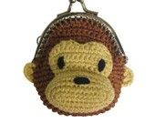 crocheted monkey coin purse Knitted Bags, Crochet Bags, Crochet Gifts, Crochet For Kids, Knit Crochet, Crochet Wallet, Crochet Coin Purse, Coin Purses, Purses And Bags