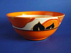 Large Clarice Cliff Bizarre 'Orange Chintz' Havre Bowl c1932