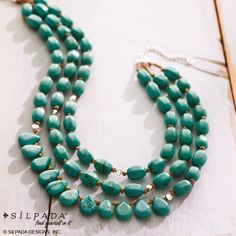 Three strands of faceted, #turquoise droplets that are as fascinating as exotic waters. | #SummerFashion