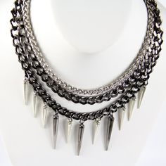 Spike Necklace Spike Jewelry Chain Necklace by CalypteCollection, $35.00
