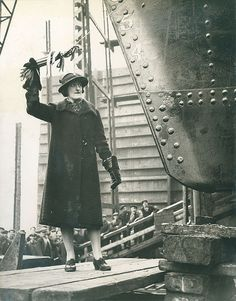Sponsor preparing to launch the tanker 'Empire Coral' built by Sir James Laing & Sons Ltd, Sunderland, 11 February 1941 (TWAM ref. Marine Engineering, Victorian Buildings, North East England, Naval History, Tug Boats, Fishing Villages, Sunderland, Historical Pictures, First World