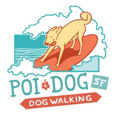 Poi Dog SF Dog Walking Logo « conkberry | art and design for people who love animals  #logo #design #dog #walker #training #trainer #surfing #surf #board #happy #cute #artwork #poi #sanfrancisco #branding #marketing #graphic #design #waves #hawaii