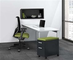 """This stylish computer furniture set includes a 60"""" desk with mobile file pedestal and wall mount hutch. The Mayline e5 series combines modern and industrial style characteristics that are sure to impress."""