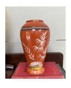 Vintage Japanese Ceramic Vase Burnt Orange with Simple | Etsy