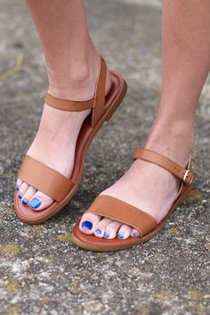 Keep it simple and chic with these tan sandals from madden girl! Features a strap across the toes and another around your ankle with buckle. Lightly padded footbed for all day comfort. Model is wearin Tan Sandals, Flats, Fair Lady, Ladies Boutique, Pedi, Online Boutiques, Kicks, Footwear, Ankle