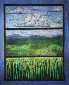 "Jill Jansen landscape quilt  I like the idea of using the ""window framing"" around the view"