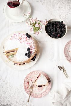 Classic Victoria Sponge Cake with Blackberry compote.