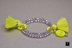 Neon Yellow Girls Handmade Wrap Memory Wire Bracelet by BYTWINS