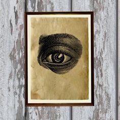 Human eye print Antique paper Antiqued decoration by artkurka