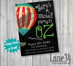Wicked Wizard of Oz the Great and Powerful V.1 Birthday Invitation Printable DIY on Etsy, $8.00