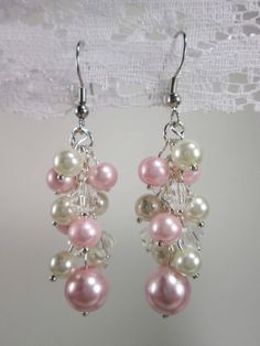Pink & White Pearl Cluster Earrings by NicolezStore on Etsy, $8.50