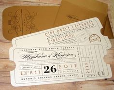 Ticket, Travel, Theater Ticket, Theatre Ticket, Train Ticket, Die Cut, Ticket Wedding Invitation, Save-the-Date, LetterBoxInk, Laura Nehls