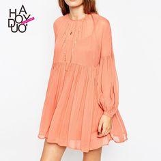 b10ea7baa67 Cute Summer Sundresses Fashion Women O Neck Lantern Sleeve Pleated Mini  Dress Cute Girl School Sundress