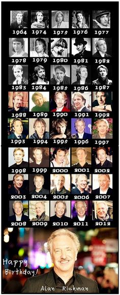 Alan Rickman in memoriam. The many faces of Alan Rickman through the ages. Hogwarts, Happy Birthday To You, Alan Rickman Always, I Look To You, Severus Rogue, Alan Rickman Severus Snape, Star Wars, British Actors, Eye Candy