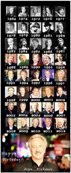 Happy birthday Alan Rickman!!!  The many faces of Alan Rickman through the ages...