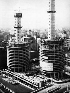 Art Print: Marina City Under Construction, c early 1960's, Chicago : 16x12in
