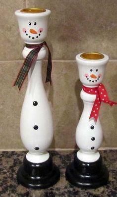 Snowman and Snowlady Candle Holders by CandlesByOC on Etsy, $15.00