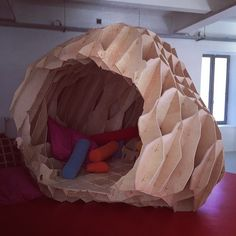 My own personal indoor cave hideout. A pile of pillows and blankets and a book is all I need inside. Biomimicry Architecture, Parametric Design, Pavilion Design, Origami Love, Digital Fabrication, Cnc Projects, Wood Worker, Plywood Furniture, Architect Design