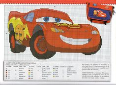Lightning McQueen Disney Cross Stitch Patterns, Counted Cross Stitch Patterns, Cross Stitch Charts, Cross Stitch Embroidery, Cross Stitch Letters, Cross Stitch For Kids, Cross Stitch Baby, Disney Cars, Disney Stitch