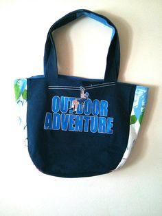 OKA BAG - Blue+Black // 100% Handmade // Repurposed // Upcycled // Reversible // Tote Bag // Grocery Bag // Book Bag //