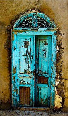 Fabulous door old door cracks turquise blue curve weathered beauty aged curve details ornaments photo Cool Doors, The Doors, Unique Doors, Windows And Doors, Front Doors, Knobs And Knockers, Door Knobs, When One Door Closes, Vintage Doors