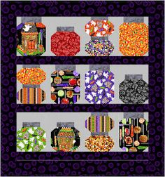 Quilt Inspiration: Free Pattern Day: Halloween Halloween Quilts, Halloween Quilt Patterns, Halloween Sewing, Fall Sewing, Halloween Fabric, Halloween Stoff, Halloween Jars, Fun Halloween Crafts, Halloween Projects