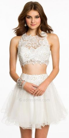 Lace Two Piece With Tulle Short Skirt Prom Dresses by Dave and Johnny-image