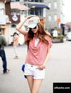 Womens Loose Polo Collar Short Sleeve Solid Pink Tshirt