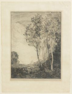 Jean Baptiste Corot (French, 1796-1875)    Paysage d'Italie Etching