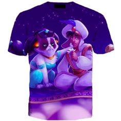 Grumpy Cat as Jasmine with Aladdin Disney Princess All Over Print Graphic Tee