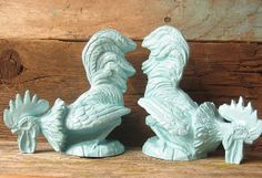 Shabby Chic Robins Egg Blue Rooster Statues by happybdaytome, $24.00