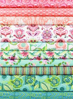 Amy Butler, Bright Heart, Olive in FAT QUARTERS 10 Total