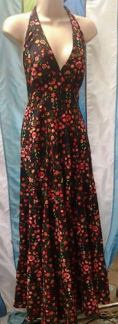Black Vintage Resort Beach Flowy  Floral Halter Maxi Dress Sz 3/4 #unknown #Maxi #SummerBeach