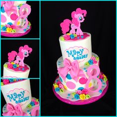 My Little Pony Pinkie Pie Cake My Little Pony party: Pinkie Pie Birthday Cake! Pinkie Pie Cake Pinkie Pie cake For zays mini cake, like the rosettes maybe as a border to look like mane/tail. My Little Pony Party, Cumple My Little Pony, My Lil Pony, Pinkie Pie Party, Pinkie Pie Cake, Pinky Pie, Party Cakes, Birthday Cake, 5th Birthday