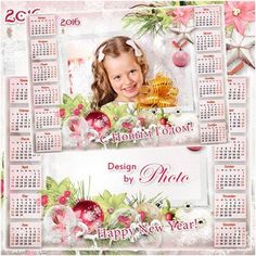 Free 2016 New Year calendar psd template (you can insert photo)   Christmas photo frame psd - Free Download