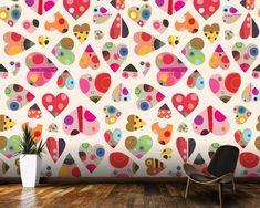 Heart Pattern wall mural room setting