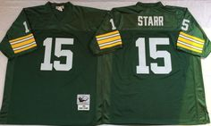 fdf52f7f2 Mitchell And Ness 1969 Packers  15 Bart Starr Green Throwback Stitched NFL  Jersey And