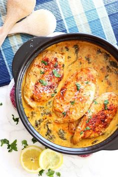 This savory Lemon Butter Chicken is just over the top! Full of flavor, every bite is unforgettable. The lemon cream sauce mixed with fresh garlic and Parmesan cheese pairs perfectly with the tender and juicy chicken. So savory…this dish wil Crock Pot Recipes, Rockcrok Recipes, Pampered Chef Recipes, Slow Cooker Recipes, Cooking Recipes, Paleo Recipes Dutch Oven, Lunch Recipes, Dinner Recipes, Oven Chicken Recipes
