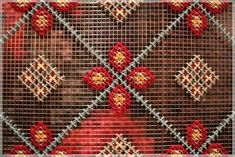 Cross-Stitch Installation at Patria Restaurant – Design*Sponge Contemporary Embroidery, Yarn Bombing, Wall Crosses, Le Point, Textures Patterns, Cross Stitching, Textile Art, Needlepoint, Needlework