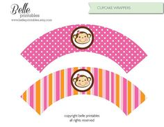 Items similar to Cupcake Wrapper - Monkey Pink - DIY Printable - Baby Shower for Girl on Etsy Cupcake Wraps, Cupcake Boxes, Baby Shower Printables, Free Printables, Printable Box, Beach Mat, Outdoor Blanket, Cupcakes, Parties