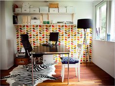 Just the right amount of pattern which creates a nice horizon line. Love orla kiely.