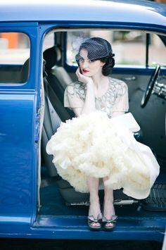 Blue bridal birdcage veil  something blue | itakeyou.co.uk