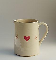 Hogben Pottery Medium Jug - Heart on Cream