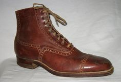 VICTORIAN DEADSTOCK 1890s RED GOOSE Work BOOTS Shoes Ankle Leather Hightop